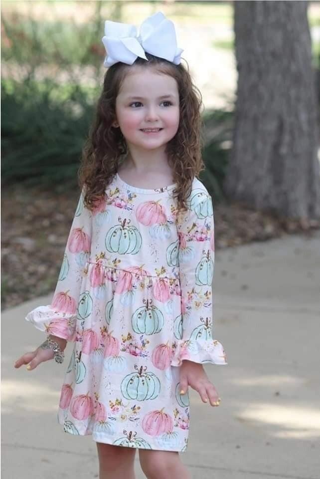 Light Pink Pumpkin Dress with Flutter Sleeves