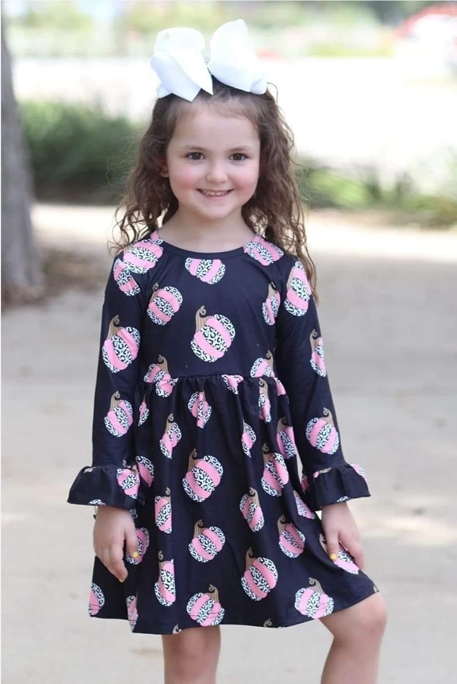 Girls Black & Pink Pumpkin Dress