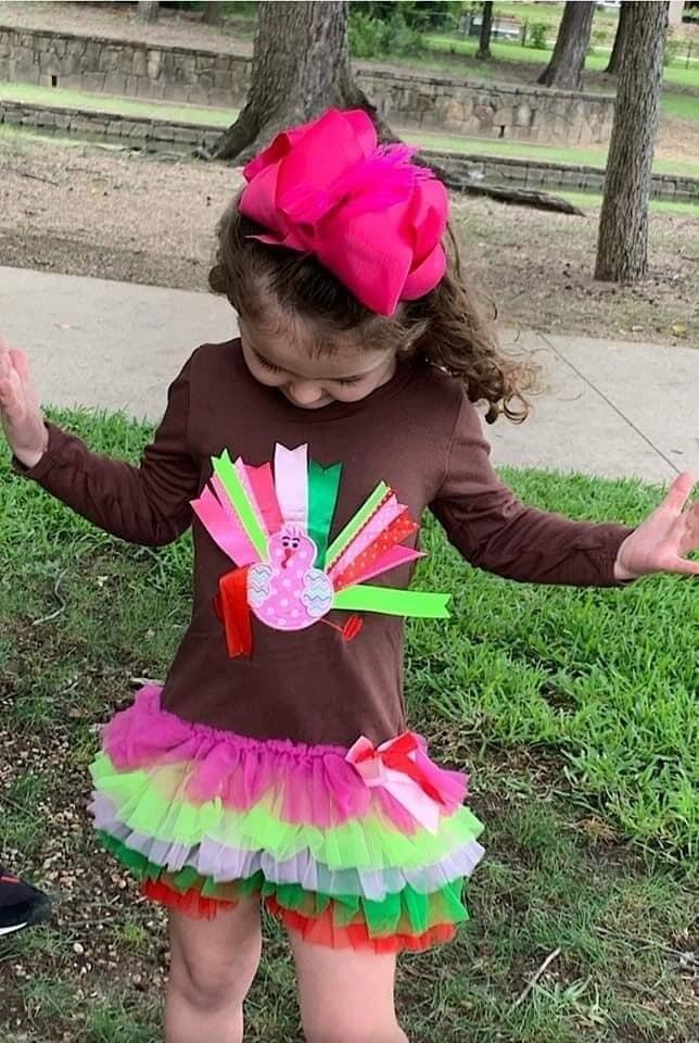 Girls Turkey Appliqué Dress