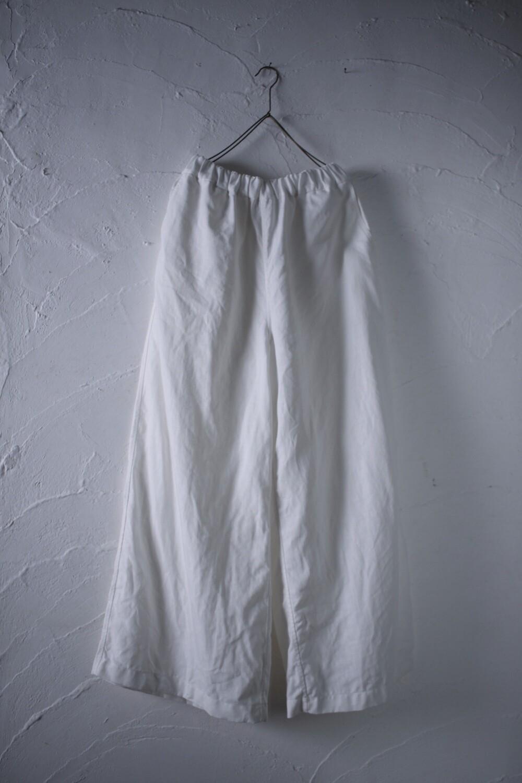 ホワイトリネン ワイドパンツ Wide-leg linen pants  白/White