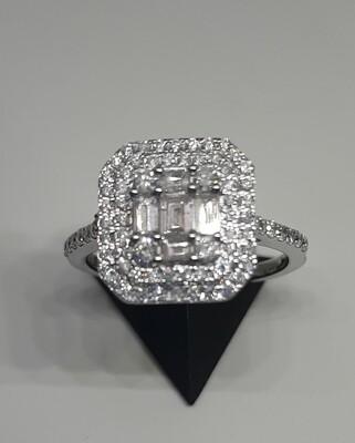 18ct White Gold 1ct Diamond Set Cluster Ring