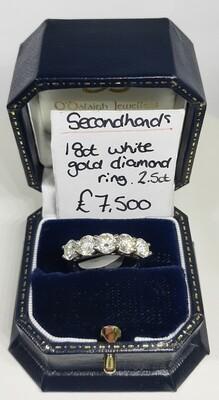 18ct White Gold 2.5ct Diamond Five Stone Ring