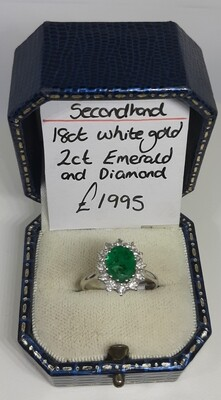 18ct White Gold 2ct Emerald and Diamond Cluster Ring