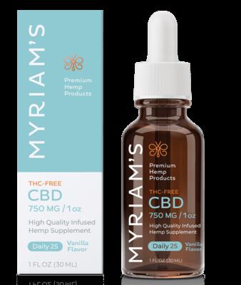 Myriam's THC Free CBD Oil - Daily 25 (750 mg) Vanilla Flavor
