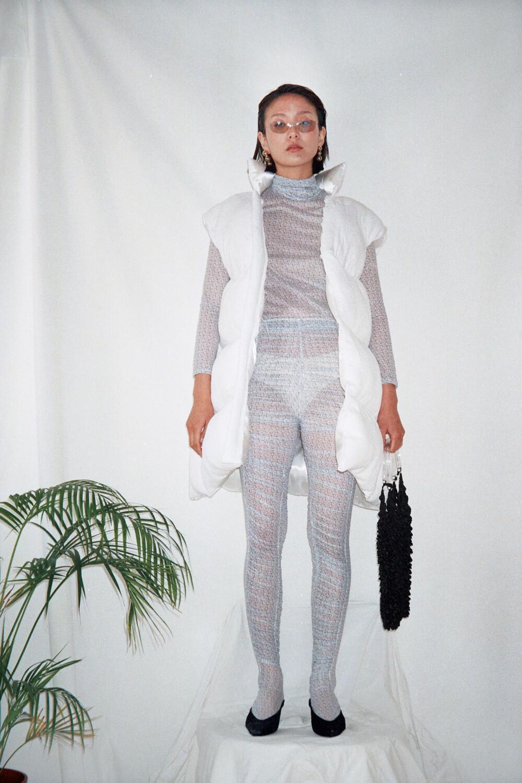 White Jaquard textile Padded XXL Vest