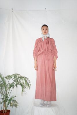 Pink Viscose gathered Mid-length Dress