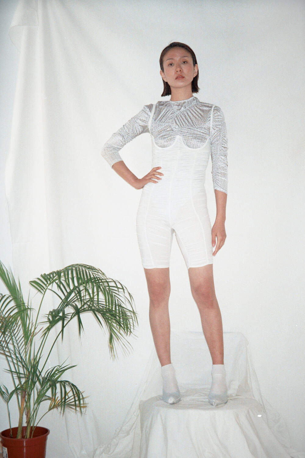 White gathered stretch jumpsuit second skin