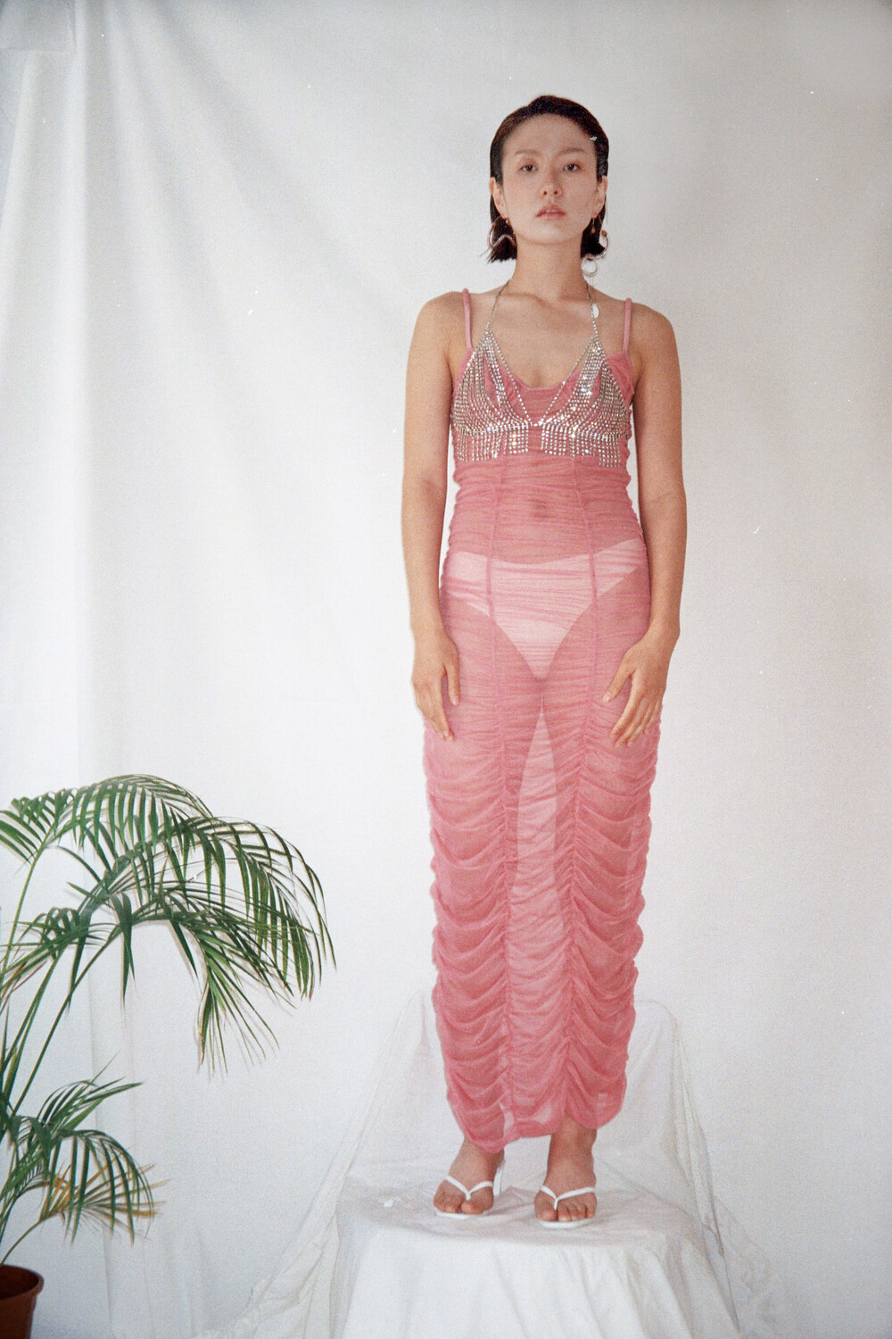 Pink Tulle gathered Long Dress