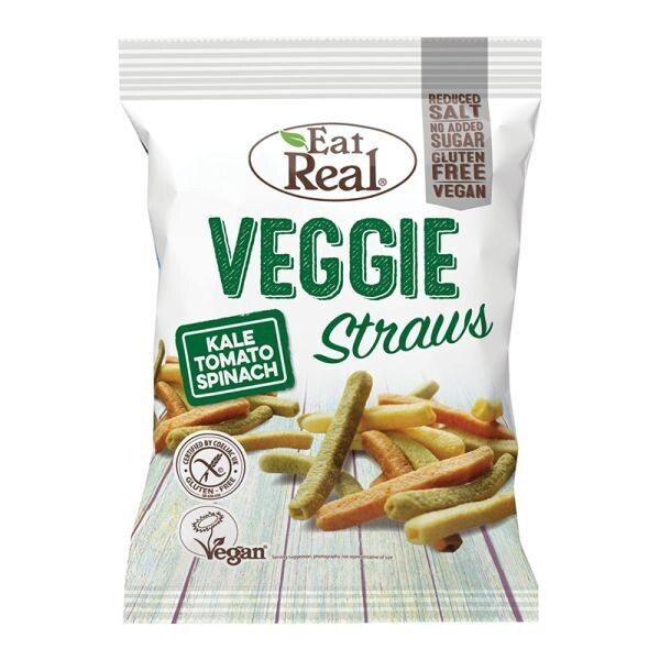 EAT REAL 113gr VEGGIE STRAWS KALE TOMATO & SPINACH VEGAN