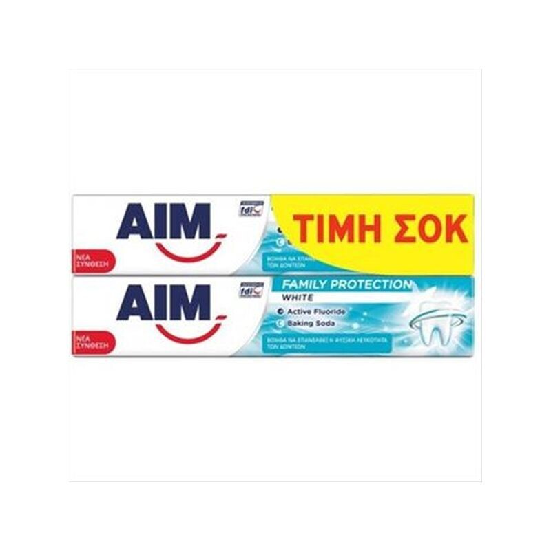 AIM 2Χ75ml ΟΔΟΝΤΟΚΡΕΜΑ FAMILY PROTECTION WHITE