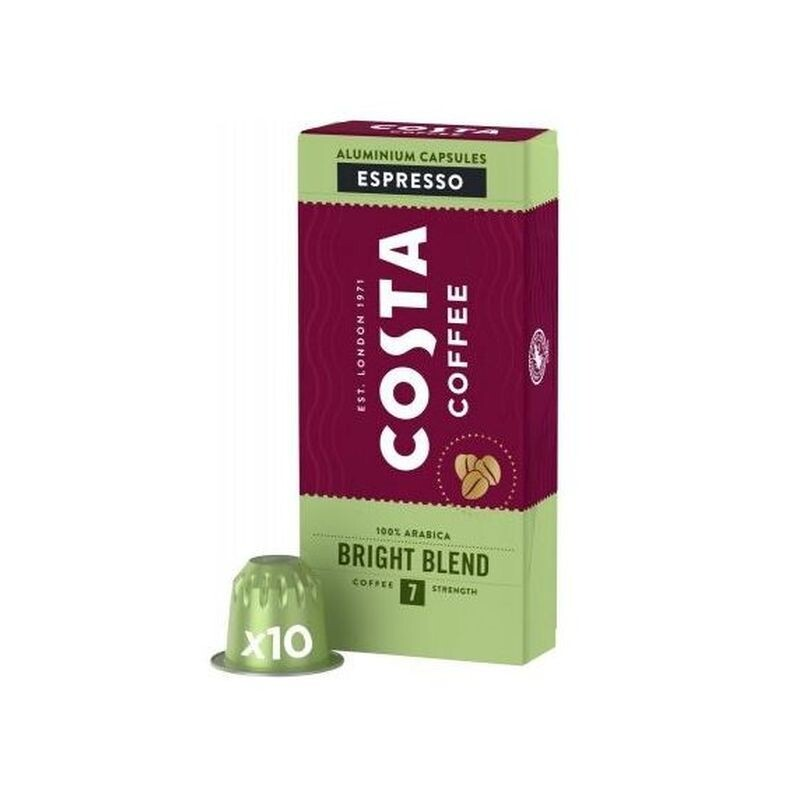 COSTA COFFEE 10X5,7gr ΚΑΨΟΥΛΕΣ ESPRESSO BRIGHT BLEND NESPRESSO COMPATIBLE