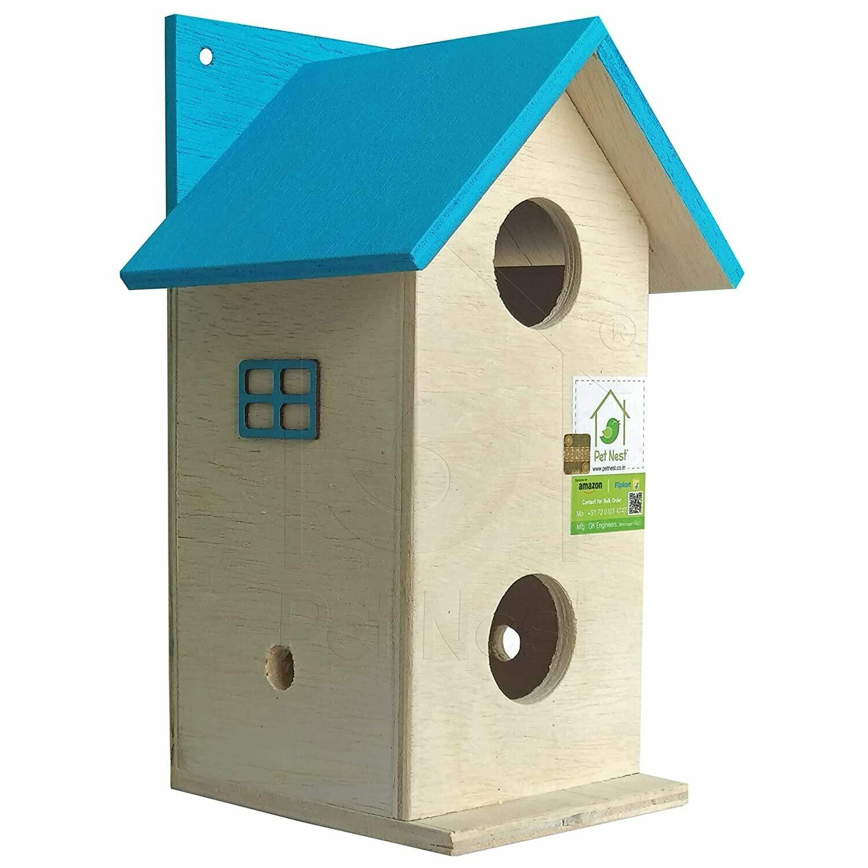 PetNest Beautiful Duplex Bird House Nest Box for Sparrow and Garden Birds SkyBlue - DECO5