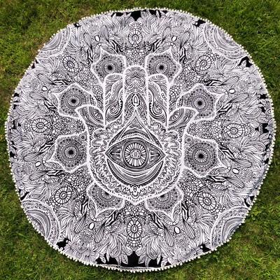 Large Black and White Hamsa Mandala Tapestry