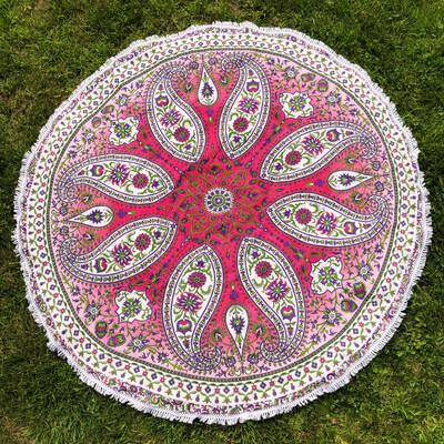 Large Pink Purple and Green Paisley Mandala Tapestry