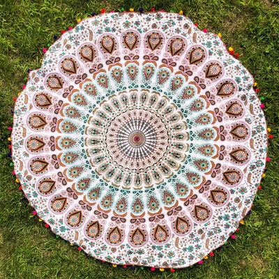 Turquoise, Brown, and Magenta Mandala Tapestry