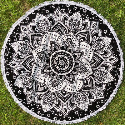 Black And Metallic Silver Mandala Tapestry
