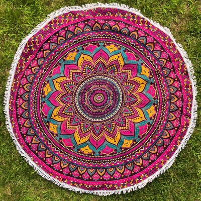 Magenta, Orange, and Teal Lotus Mandala Tapestry
