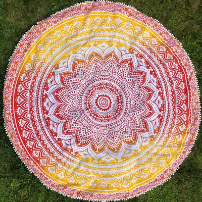 Large Red, Orange and Yellow Mandala Tapestry