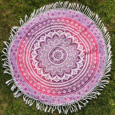 Pink Purple And White Mandala Tapestry with Long Fringe