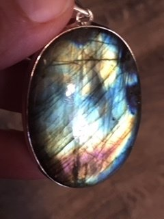 Stunning  MULTI Color PURPLE, yellow & blue  Labradorite Pendent
