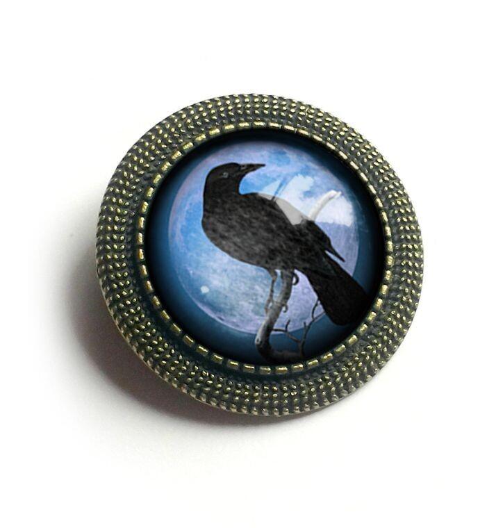 Blue Raven Brooch
