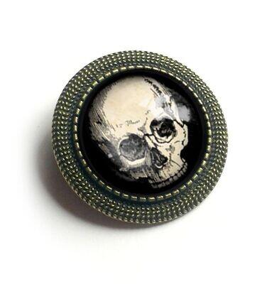 Human Skull Brooch