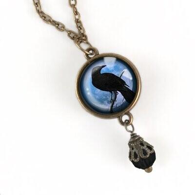 Blue Raven Pendant Necklace