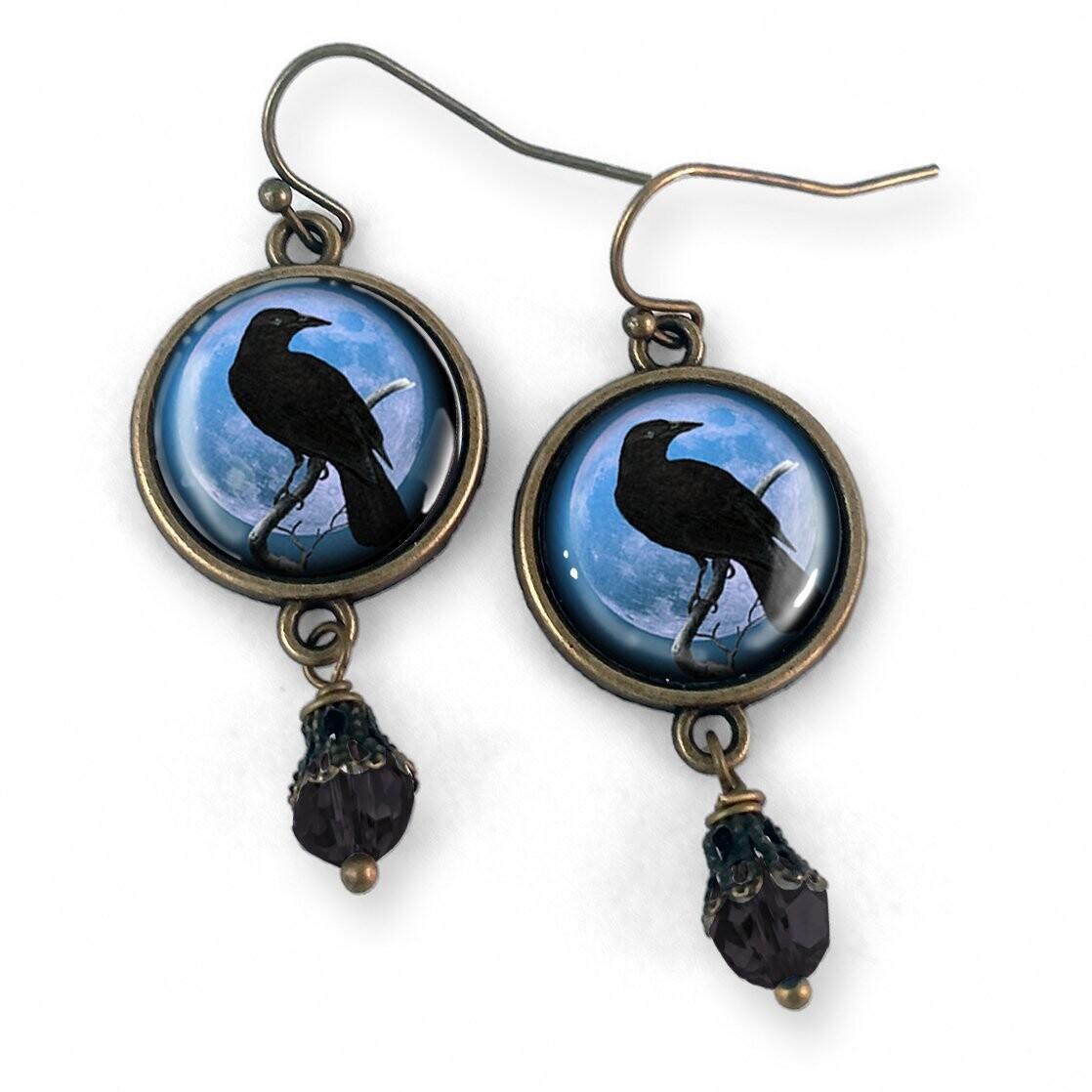 Blue Raven Earrings
