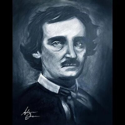 Edgar Allan Poe Charcoal Print
