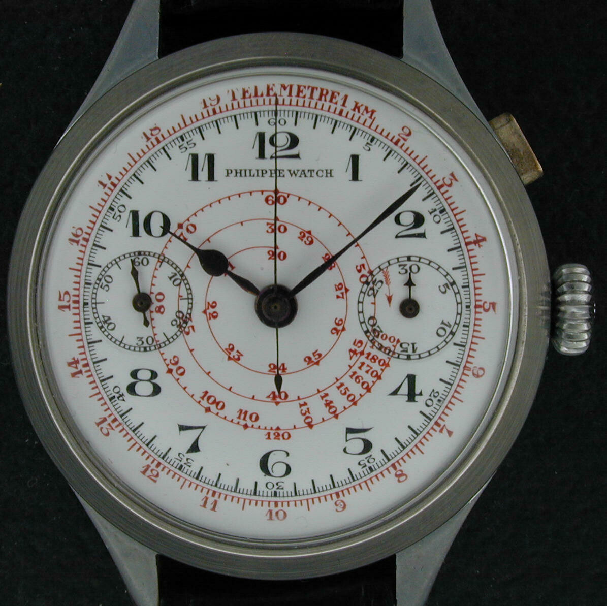 Philippe Single Button Chronograph Porcelain dial