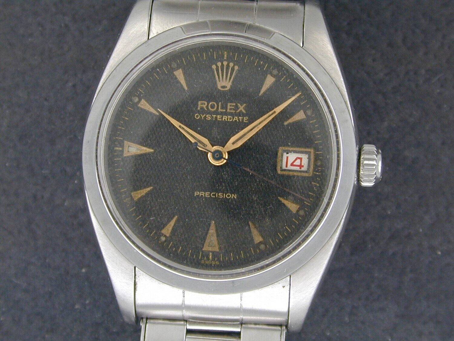 Rolex Oyster Date w/rare black waffle dial Ref #6694