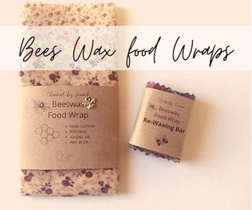 Bees Wax Food Wrap - Set of Three + Rewaxing Bar