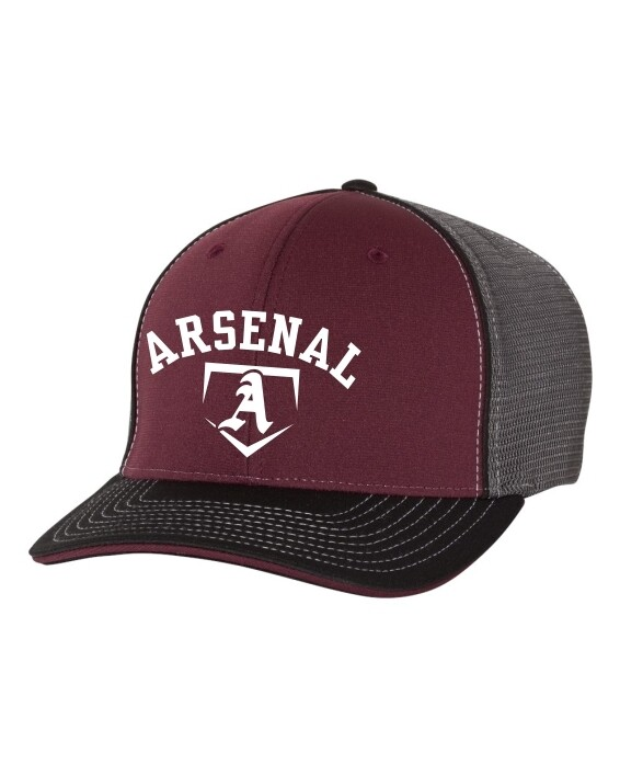 ARSN-172 FITTED HAT MAROON/CHARCOAL/BLACK