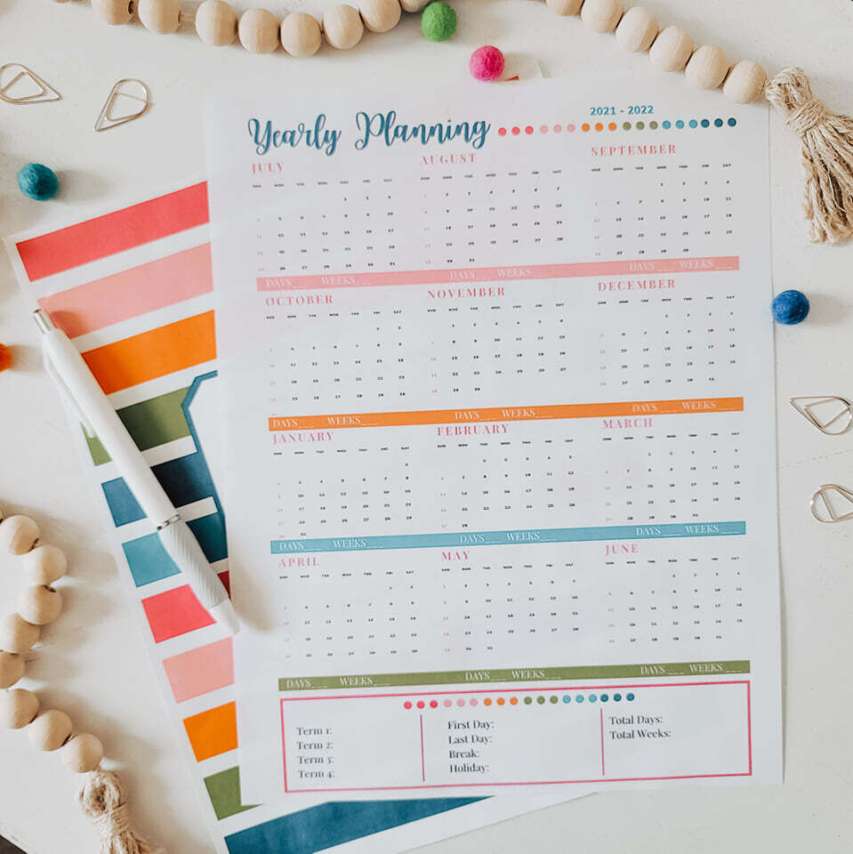Homeschool Yearly Planning Page