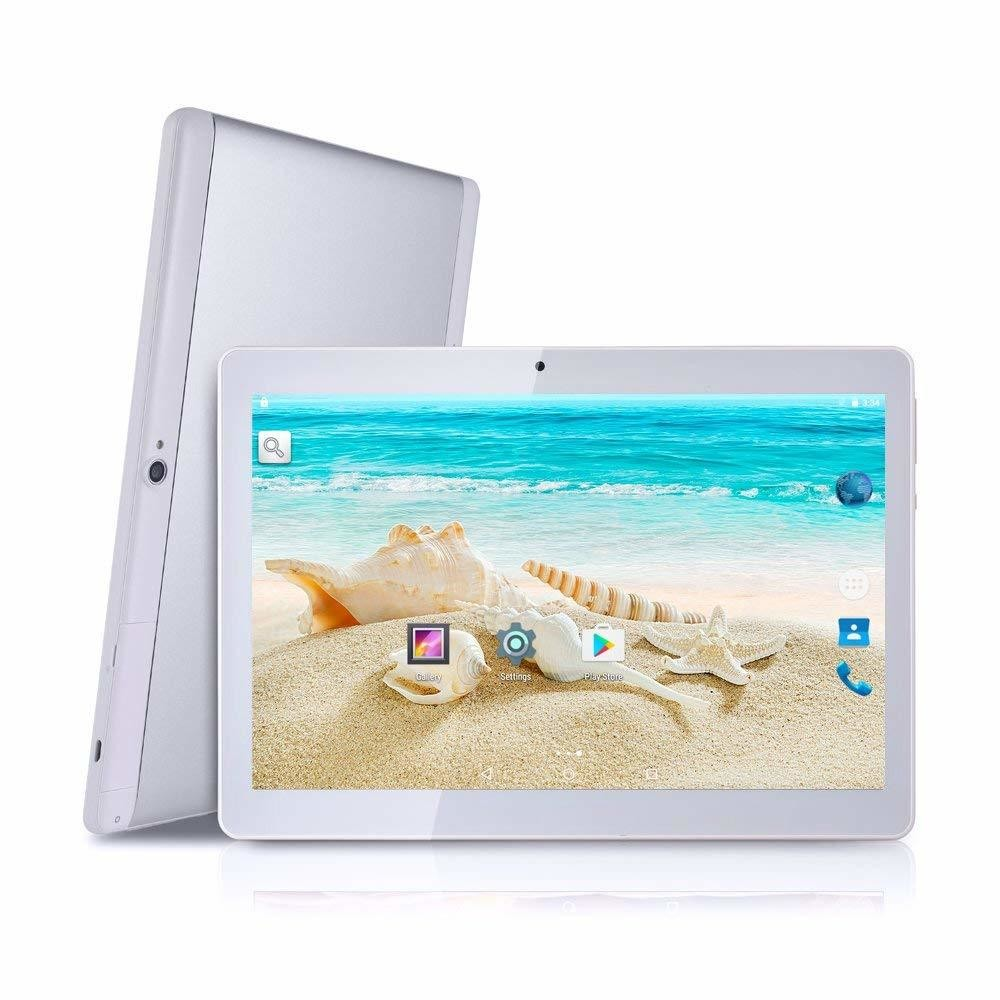 "Tablette BeyondTab Android Tablet with SIM Card Slot Unlocked 10 inch -10.1"" IPS Screen Octa Core 4GB RAM 64GB ROM 3G Phablet with WiFi GPS Bluetooth Tablet (Silver)"