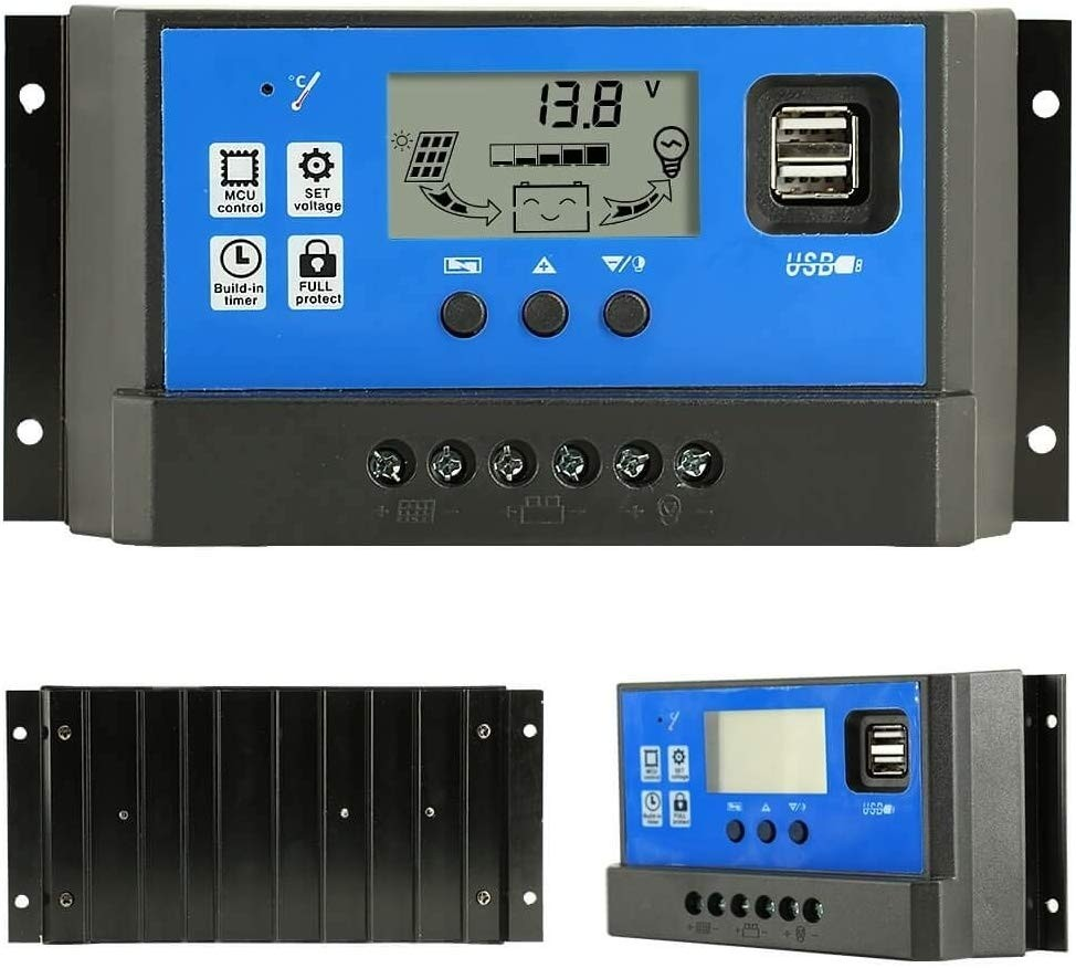 30 Amps Regulateur Panneau Solaire Regulator Solar Panel Charge Controller 12V 24V Adjustable Parameter LCD Display Current / Capacity and Timer Setting ON/Off with 5V Dual USB(CM-30A)