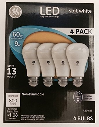 General Electric Ampoule LED Light 9 Watts 800 Lumens - Equivalent 60W - JEU DE4