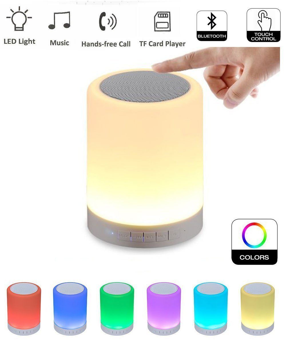 Smart Touch Lamp with Bluetooth Speaker - Portable Bluetooth Speaker 2000mAh Night Light Wireless Rechargeable Speaker