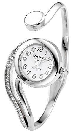 Fashion Montre pour Femme - Women's Bangle Cuff Bracelet Analog Watch - Silver Tone