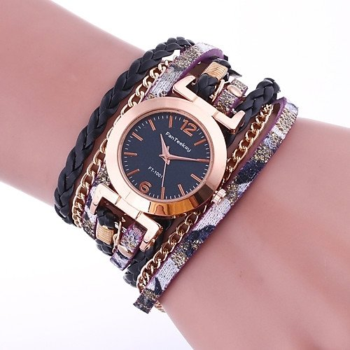 GENEVA BLACK/ MAROON LACE BUTTON WATCH BRACELET NOIR/ MARRON Bracelet Watches Faux Leather Band Wrap Bracelet Watch