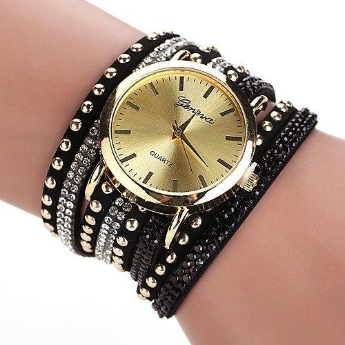 GENEVA BLACK LACE BUTTON WATCH BRACELET NOIR Bracelet Watches Faux Leather Band Wrap Bracelet Watch
