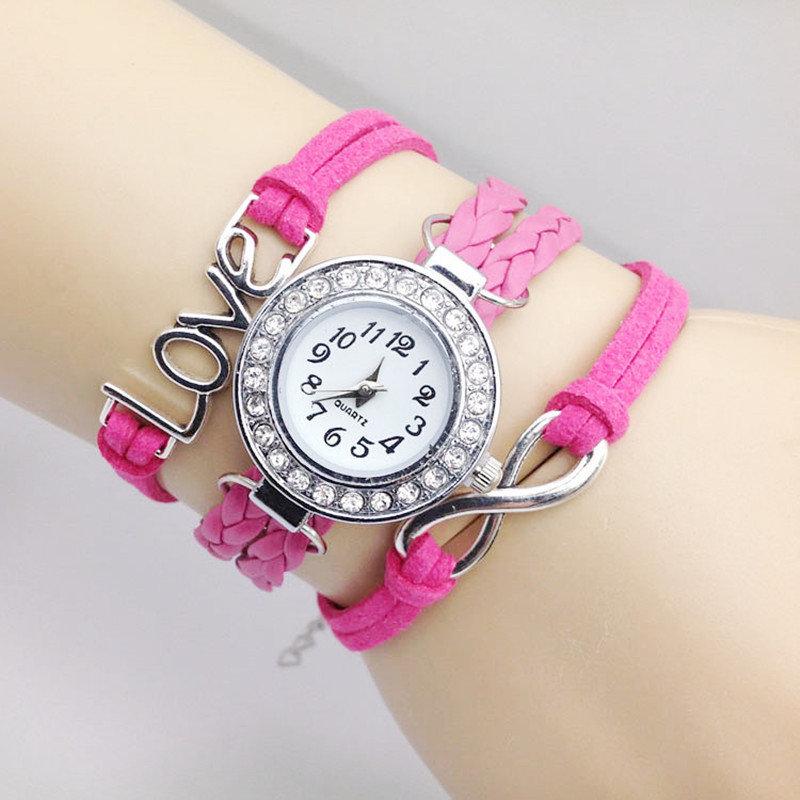 Bracelet Montre Quartz Love - Couleur Rose Raquette