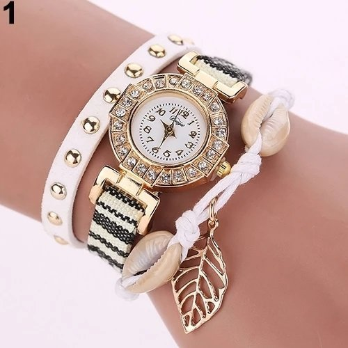 Montre Bracelet BLANC ET NOIR - Women Rivet Leaf Shell Braided Faux Leather Band Quartz Wrist Watch