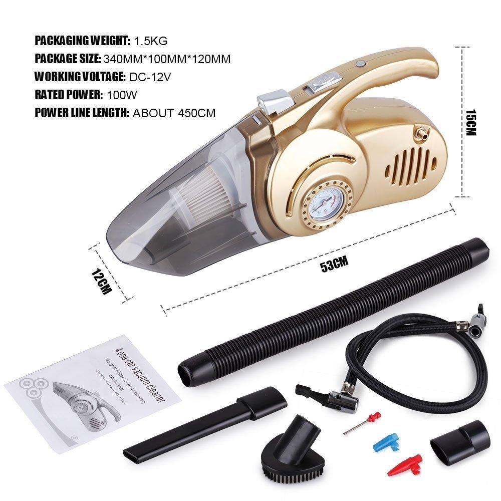 Aspirateur Vacuum Cleaner Vehicule 4 Functions: Aspirateur 12V 120W - Pompe pour Pneu - Gauge Pression Air - Lumiere Led