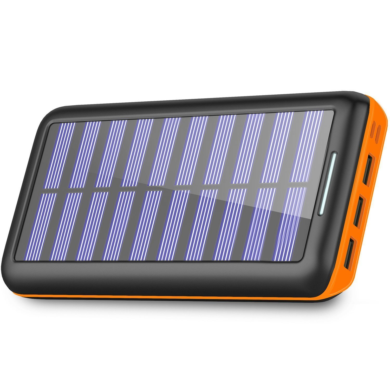Chargeur Solaire 24000mAh 3 Port iPhone & Android- Solar Charger  Portable Charger Solar Power Bank 3 Fast Charging USB Port and Dual Input (Lightning & Micro) External
