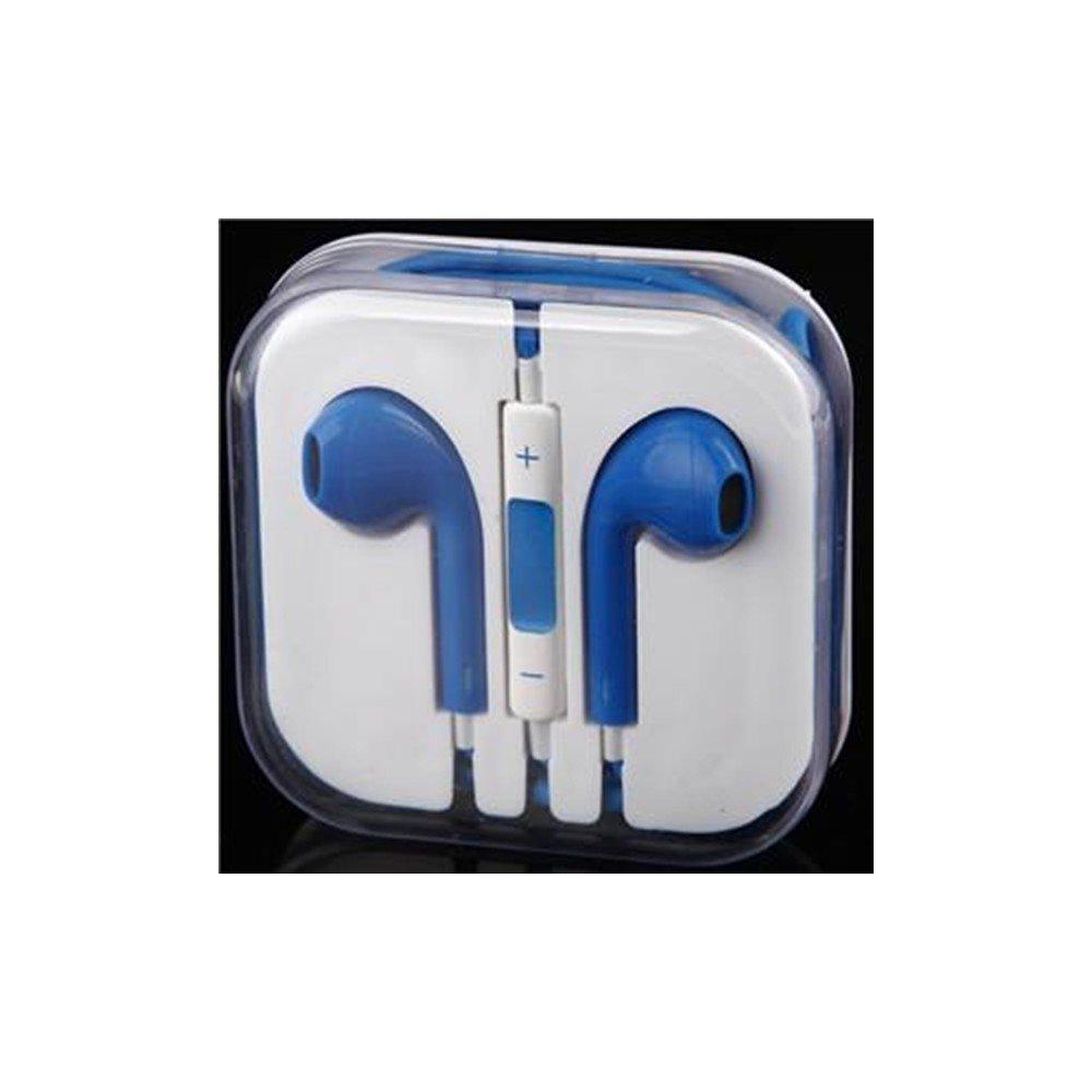 Headset Headphone Casque Ecouteur Ordinaire BLEU avec Cable - iPhone ou Android Earpiece Earphone