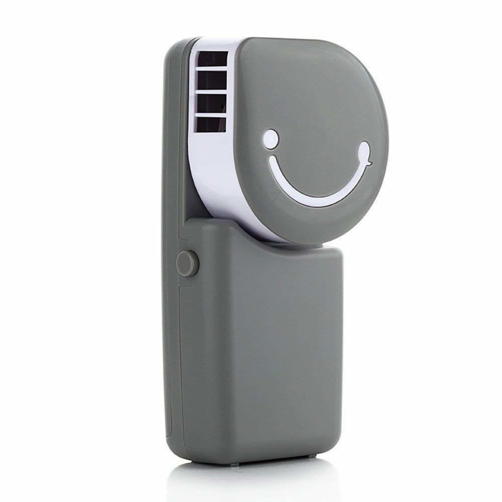 Petit Ventilateur Rechargeable Avec Filtre a Air - Portable Mini Air Condition USB Rechargeable Water Cooling Fan For Home Office Outdoor Smile Face Handheld Micro Cooler Fan (Gris)