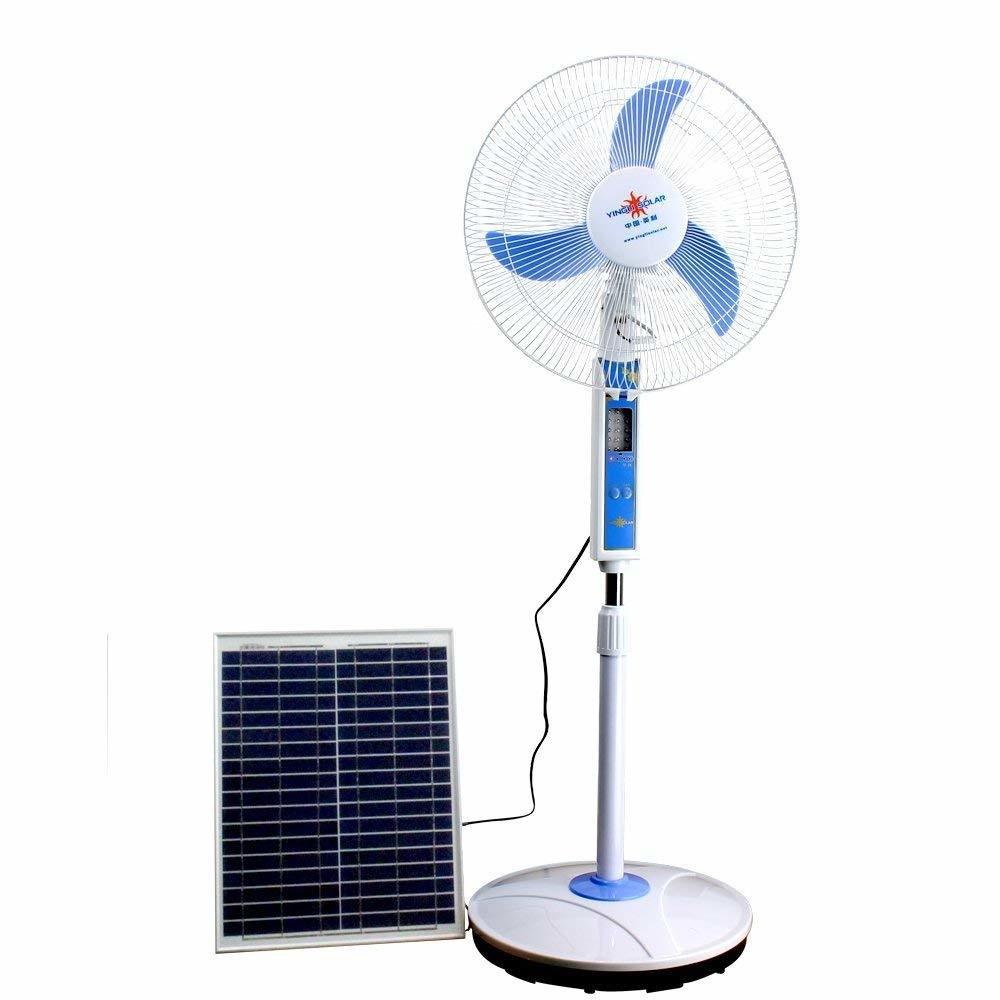 """Ventilateur Joker 18"""" RECHARGEABLE Courant 12 Volts (EDH)+ PANNEAU SOLAIRE INCLUS+ Remote Control. Lumiere Eclairage et Recharge Telephone."""