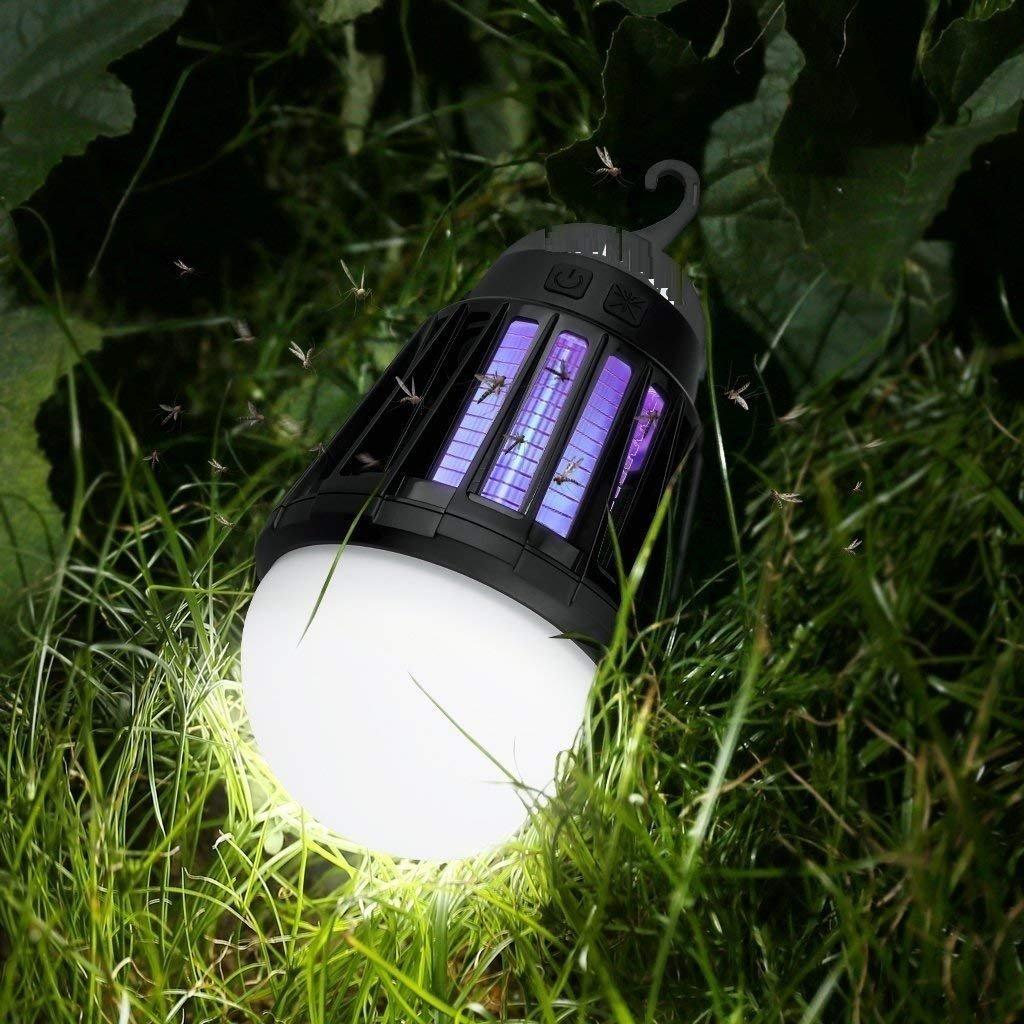 Ampoule Rechargeable Zapper de Moustique - Waterproof Lanterne - Interieur Exterieur Camping - 1 Watt LED Bulb - 2000mAh USB Lantern - Crochet Retractable Mosquito Zapper