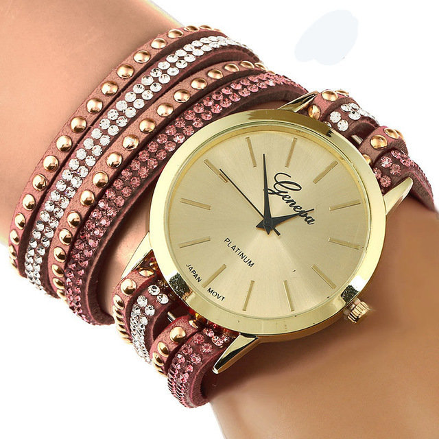 GENEVA BROWN LACE BUTTON WATCH BRACELET ROSE Bracelet Watches Faux Leather Band Wrap Bracelet Watch LES MODELES PEUVENT LEGEREMENT VARIER